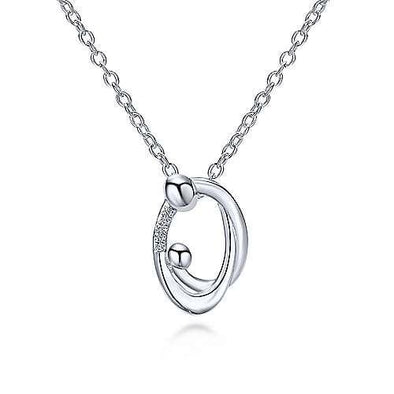 Sterling Silver Diamond Mother And Child Pendant Necklace