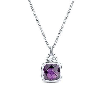 Sterling Silver Amethyst Bezel Set  Pendant Necklace