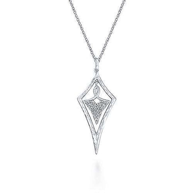 Sterling Silver White Sapphire Hammered Kite Pendant Necklace