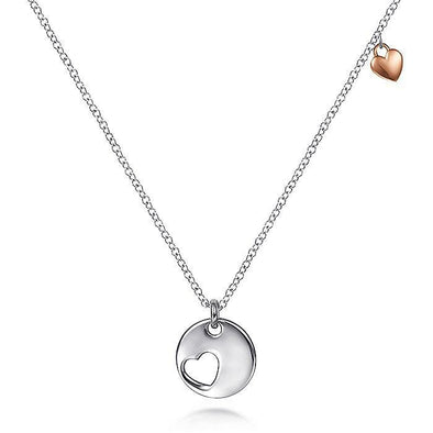 Sterling Silver Rose-White Silver Plated Heart Pendant Necklace