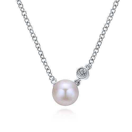 Sterling Silver Cultured Pearl and Bezel Set Diamond Necklace