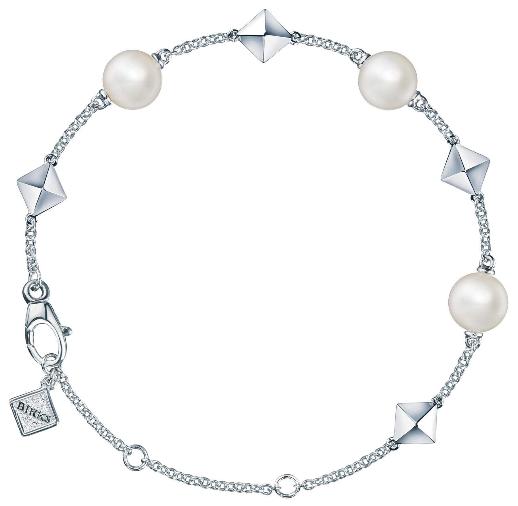 Sterling Silver Pearl and Stud Chain Bracelet