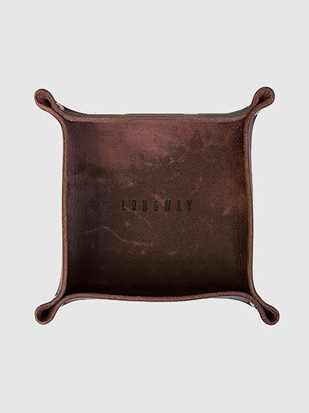 Leather tray - brown