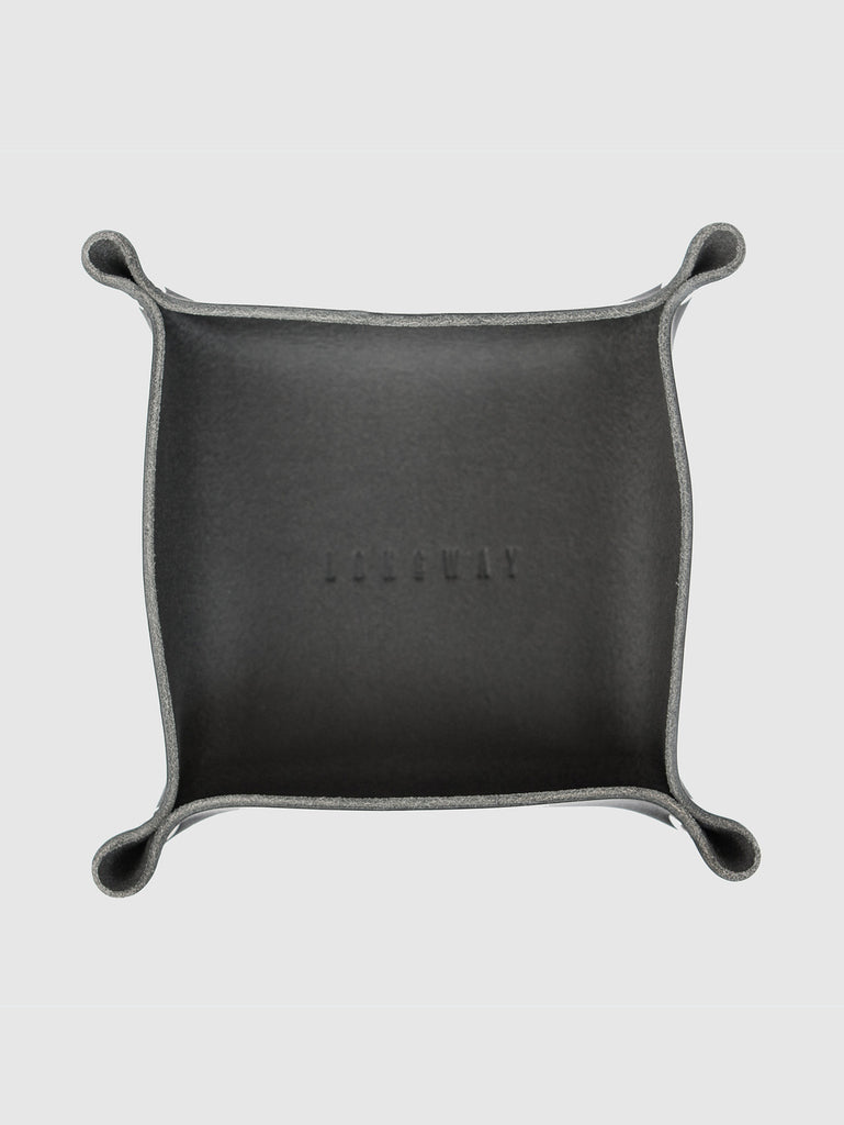 Leather tray - black