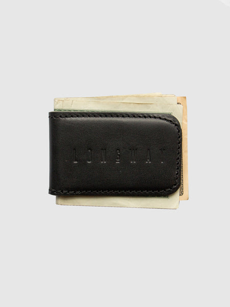 Leather money clip - black