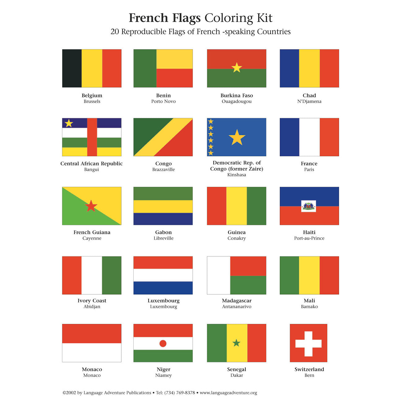 country french translation flags coloring kit language adventure 10187