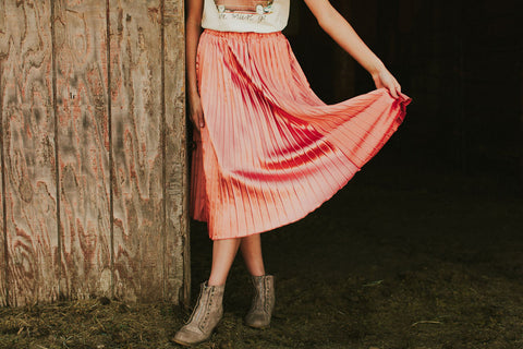 The Rose Gold Pleated Skirt