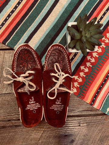 The Tooled Leather Burgundy Moccasins