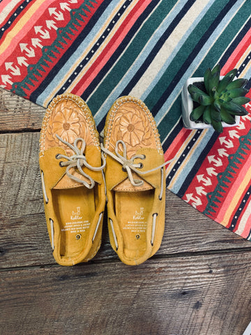 The Tooled Leather Mustard Moccasins