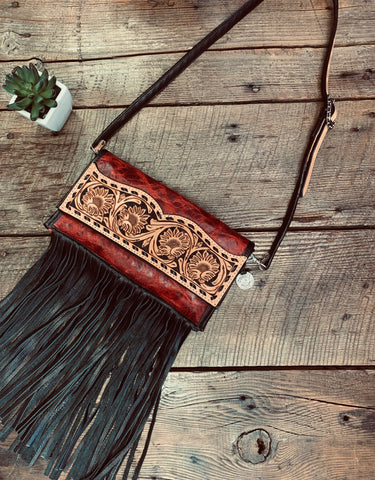 Sunflower Tooled Clutch