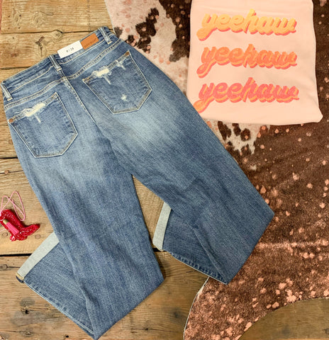Judy Blue Distressed Boyfriend Fit Jeans