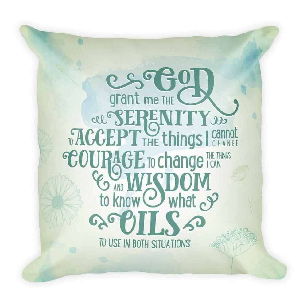Throw Pillow - Serenity (oil) Prayer Essential Oil Style young living tshirts funny oil shirts popular oil shirts doterra tshirts convention shirts