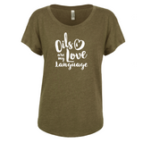 Love Language - Dolman Essential Oil Style young living tshirts funny oil shirts popular oil shirts doterra tshirts convention shirts