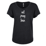 oil • pray • love - Dolman Essential Oil Style young living tshirts funny oil shirts popular oil shirts doterra tshirts convention shirts