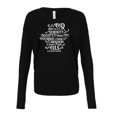 Serenity (Oil) Prayer - Drapey 2x1 Long Sleeve Top