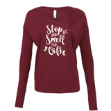 Stop and Smell the Oils - Drapey 2x1 Long Sleeve Top Essential Oil Style young living tshirts funny oil shirts popular oil shirts doterra tshirts convention shirts