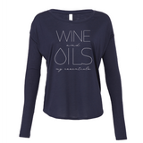 WINE and OILS - Drapey 2x1 Long Sleeve Top Essential Oil Style young living tshirts funny oil shirts popular oil shirts doterra tshirts convention shirts