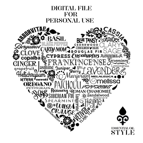 Essential Oil Heart Digital File