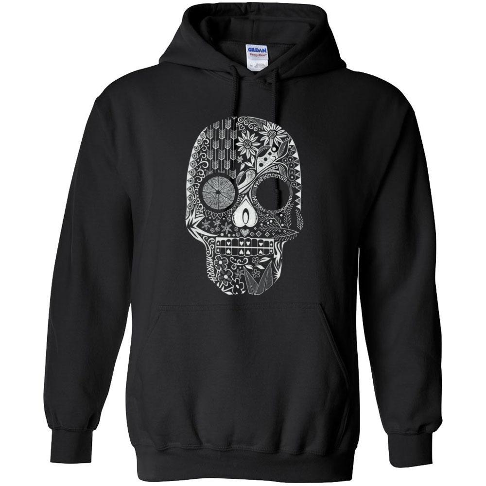 Sugar Skull - Hoodie Sweatshirt | up to 5XL Essential Oil Style young living tshirts funny oil shirts popular oil shirts doterra tshirts convention shirts