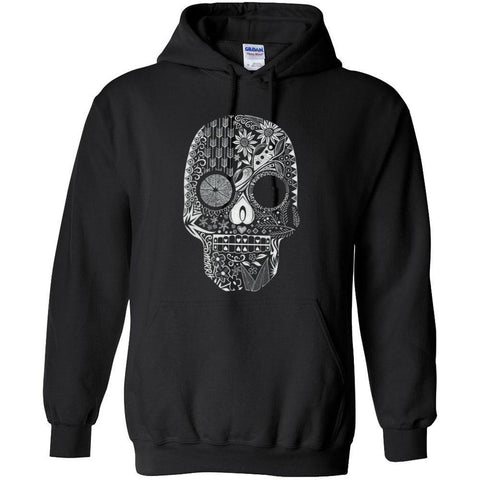 Hand Drawn Sugar Skull - Hoodie Sweatshirt | up to 5XL