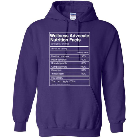 Wellness Advocate Nutrition Facts - Hoodie Sweatshirt | 12 Colors | up to 5XL