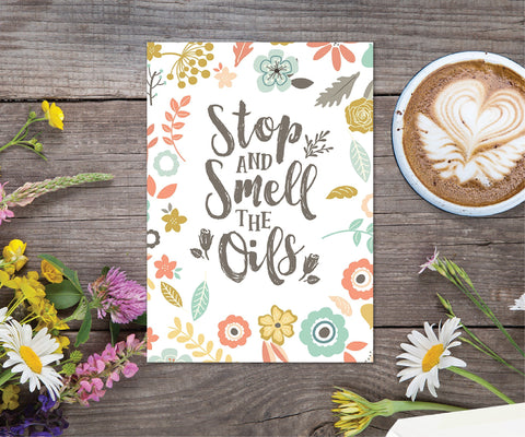 Essential Oil Greeting Cards - Stop and Smell the Oils | 5pk, 10pk, 25pk, 50pk
