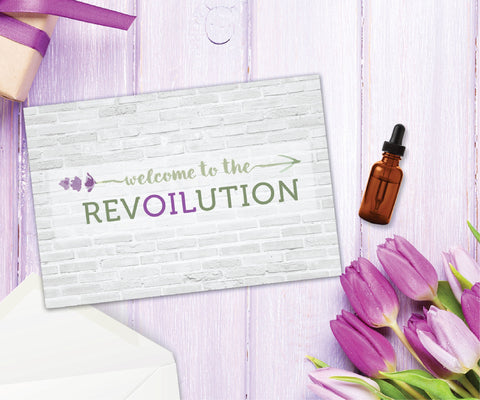 Essential Oil Greeting Cards - Welcome to the RevOILution | 5pk, 10pk, 25pk, 50pk
