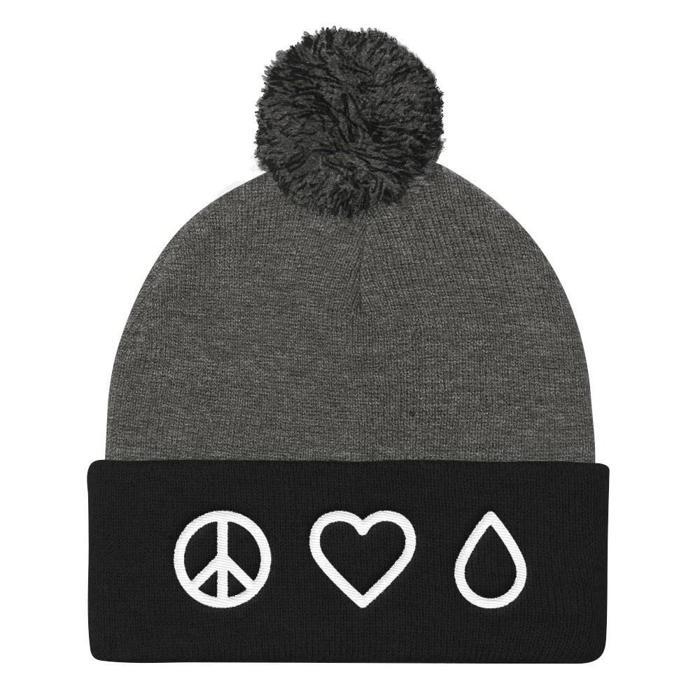 Beanie (Pom Pom) - Peace • Love • Oil Essential Oil Style young living tshirts funny oil shirts popular oil shirts doterra tshirts convention shirts