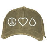 Distressed Trucker Hat - Peace • Love • Oil  (Outlet) Essential Oil Style young living tshirts funny oil shirts popular oil shirts doterra tshirts convention shirts