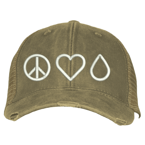 Distressed Trucker Hat - Peace • Love • Oil  (Outlet)