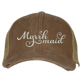 Distressed Trucker Hat - Myrrh Maid Essential Oil Style young living tshirts funny oil shirts popular oil shirts doterra tshirts convention shirts