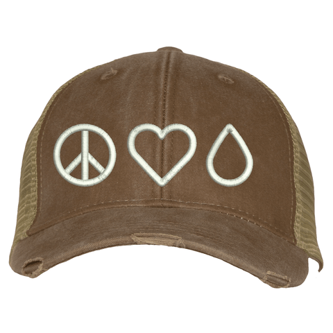 Distressed Trucker Hat - Peace • Love • Oil