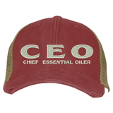 Distressed Trucker Hat - CEO Essential Oil Style young living tshirts funny oil shirts popular oil shirts doterra tshirts convention shirts