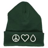 Beanie (Heavy Weighted Cuffed) - Peace • Love • Oil Essential Oil Style young living tshirts funny oil shirts popular oil shirts doterra tshirts convention shirts