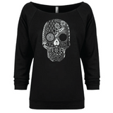 • Hand Drawn Sugar Skull - 3/4 Sleeve Raglan