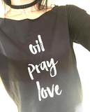 oil • pray • love -  3/4 Sleeve Raglan Essential Oil Style young living tshirts funny oil shirts popular oil shirts doterra tshirts convention shirts