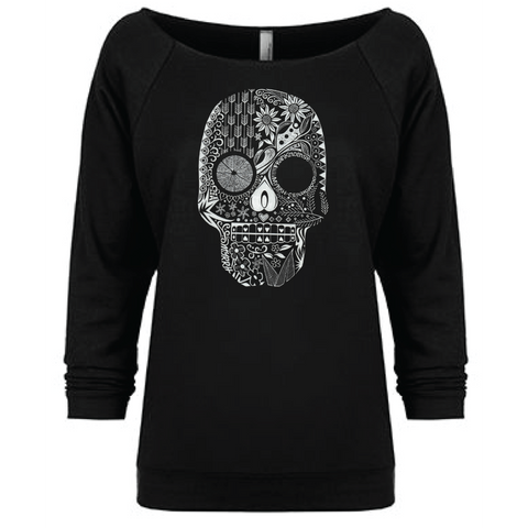 Hand Drawn Sugar Skull - 3/4 Sleeve Raglan