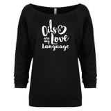 Love Language - 3/4 Sleeve Raglan Essential Oil Style young living tshirts funny oil shirts popular oil shirts doterra tshirts convention shirts