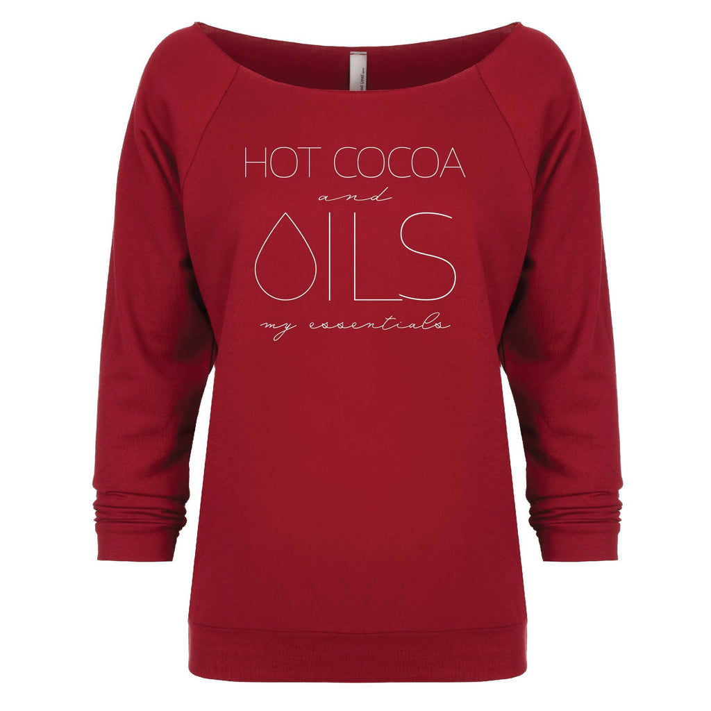 HOT COCOA and OILS my essentials - 3/4 Sleeve Raglan Essential Oil Style young living tshirts funny oil shirts popular oil shirts doterra tshirts convention shirts