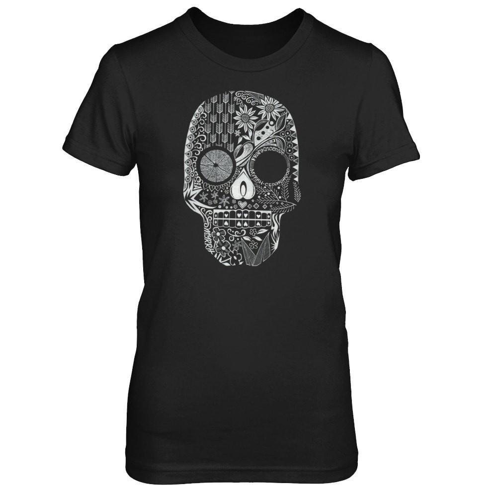 Hand Drawn Sugar Skull - Slim Crew Essential Oil Style young living tshirts funny oil shirts popular oil shirts doterra tshirts convention shirts