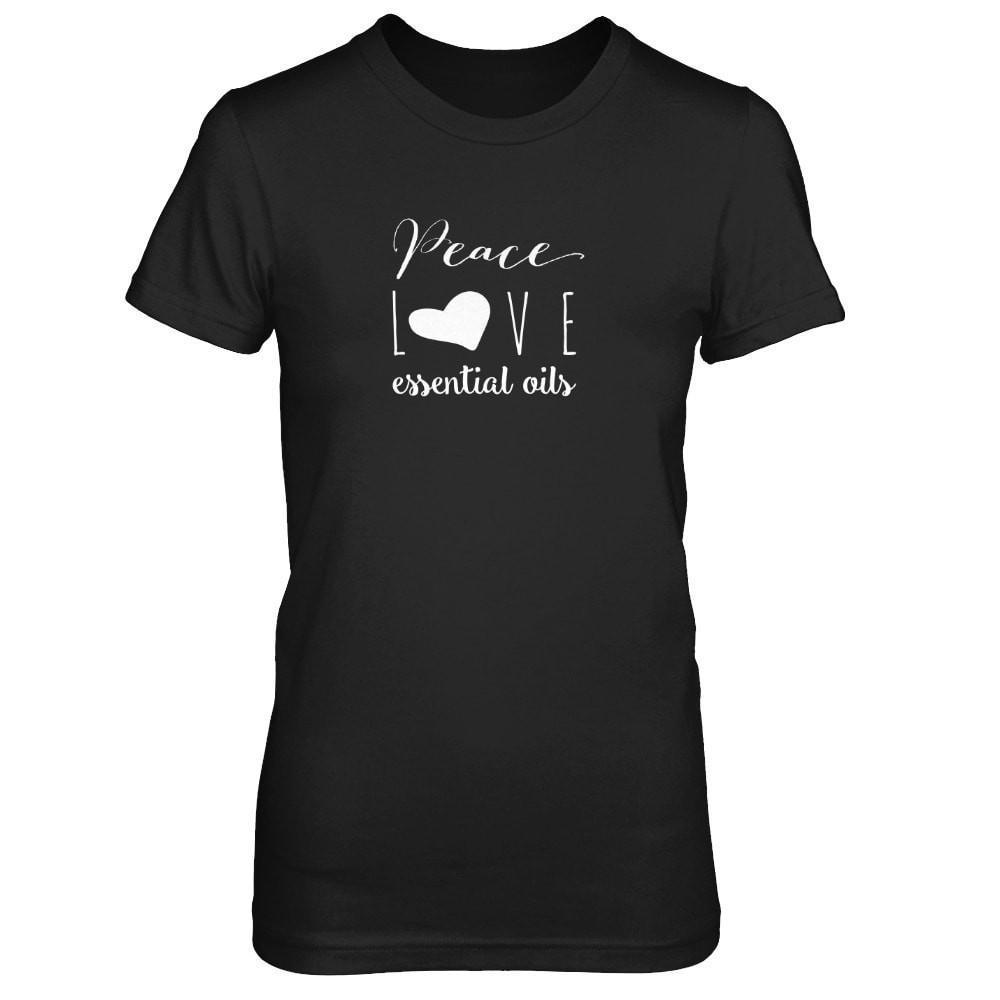 Peace Love Oils (whimsical) - Slim Crew (Outlet Product) Essential Oil Style young living tshirts funny oil shirts popular oil shirts doterra tshirts convention shirts