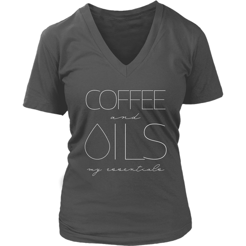 COFFEE and OILS: my essentials - V-Neck up to 4XL