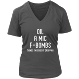 Oil, A Mic, F-Bombs - V-Neck up to 4XL Essential Oil Style young living tshirts funny oil shirts popular oil shirts doterra tshirts convention shirts