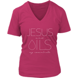 JESUS and OILS: my essentials - V-Neck up to 4XL Essential Oil Style young living tshirts funny oil shirts popular oil shirts doterra tshirts convention shirts