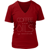 COFFEE and OILS: my essentials - V-Neck up to 4XL Essential Oil Style young living tshirts funny oil shirts popular oil shirts doterra tshirts convention shirts