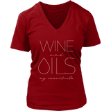 WINE and OILS: my essentials - V-Neck up to 4XL Essential Oil Style young living tshirts funny oil shirts popular oil shirts doterra tshirts convention shirts