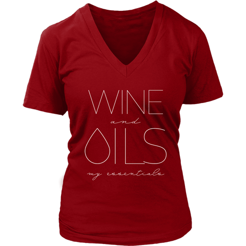 WINE and OILS: my essentials - V-Neck up to 4XL
