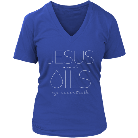 JESUS and OILS: my essentials - V-Neck up to 4XL