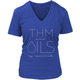 THM and OILS; my essentials - V-Neck up to 4XL Essential Oil Style young living tshirts funny oil shirts popular oil shirts doterra tshirts convention shirts