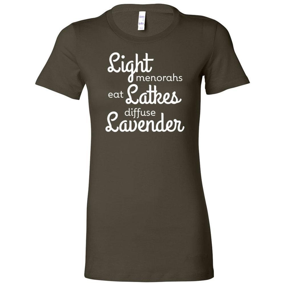 LIGHT menorahs • eat LATKES • diffuse LAVENDER - Slim Fitted Crew | 13 Colors Essential Oil Style young living tshirts funny oil shirts popular oil shirts doterra tshirts convention shirts